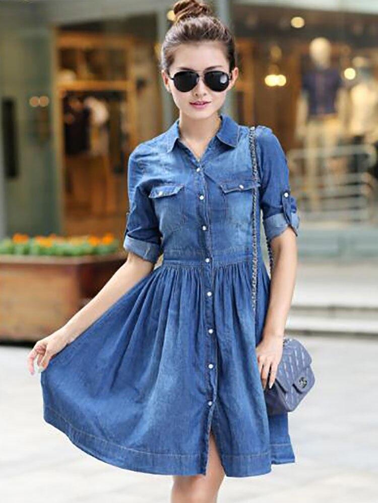 1  spring summer season girls clothes,informal pleated demin gown plus measurement HTB1jfR tTdYBeNkSmLyq6xfnVXaE