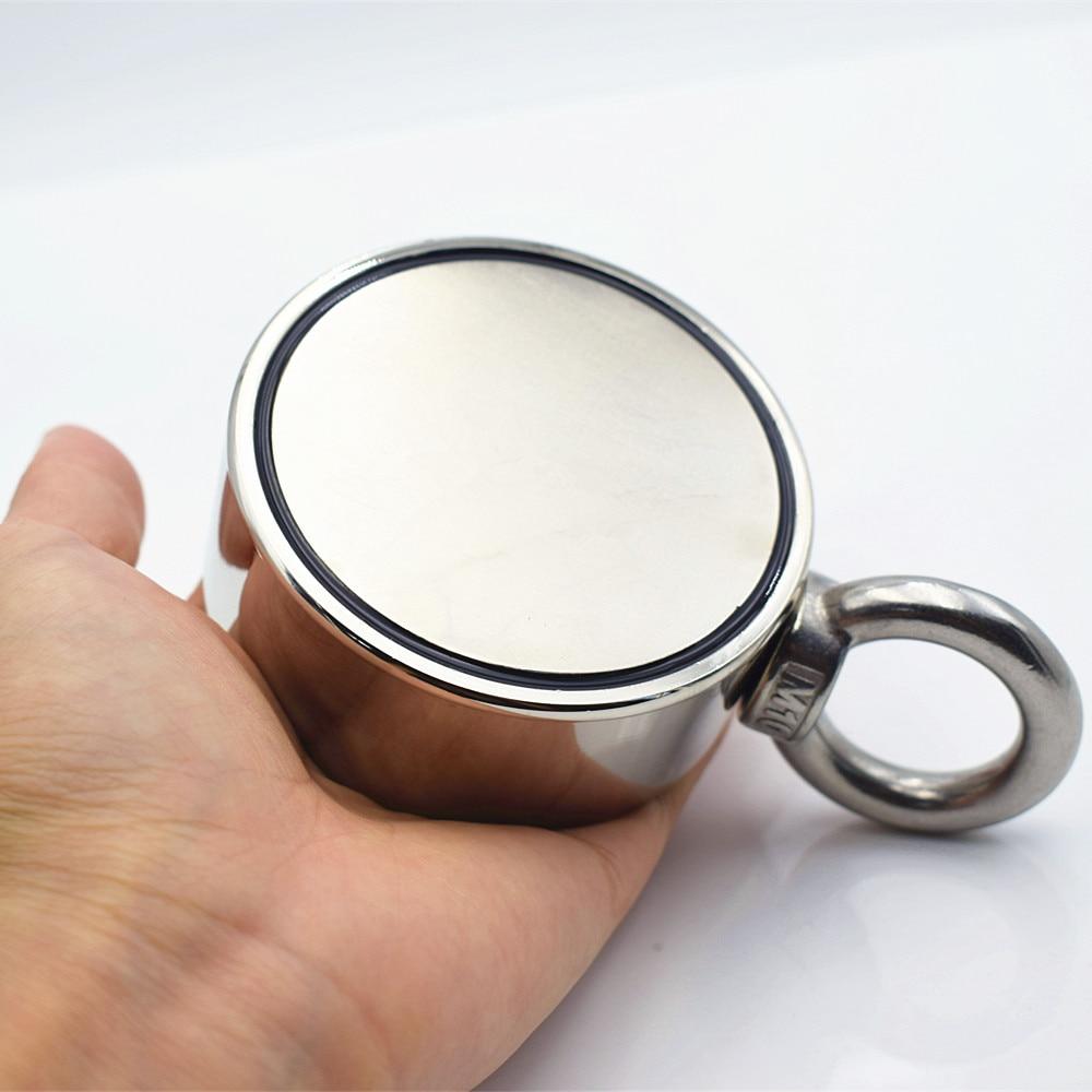 D75mm imán de neodimio súper poderoso agujero de doble cara salvar pesca imán 300 kg anillo Circular gancho permanente soporte de acero - 4