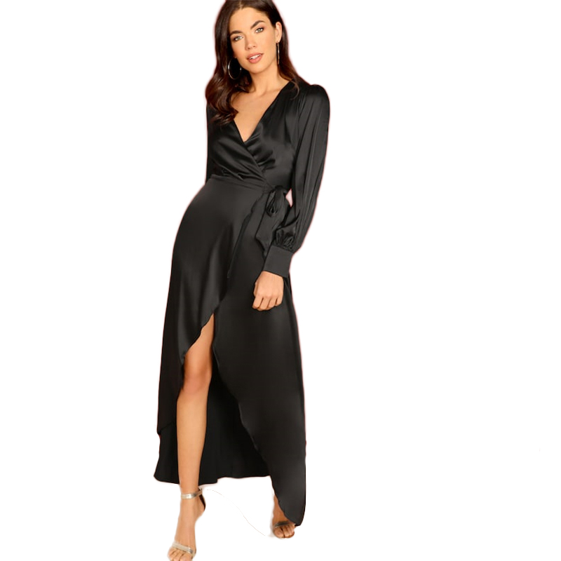 COLROVIE Black Knot Surplice Wrap Split Party Maxi Dress Women Clothes 2019 Spring Long Sleeve High Waist Dress Ladies Dresses 10