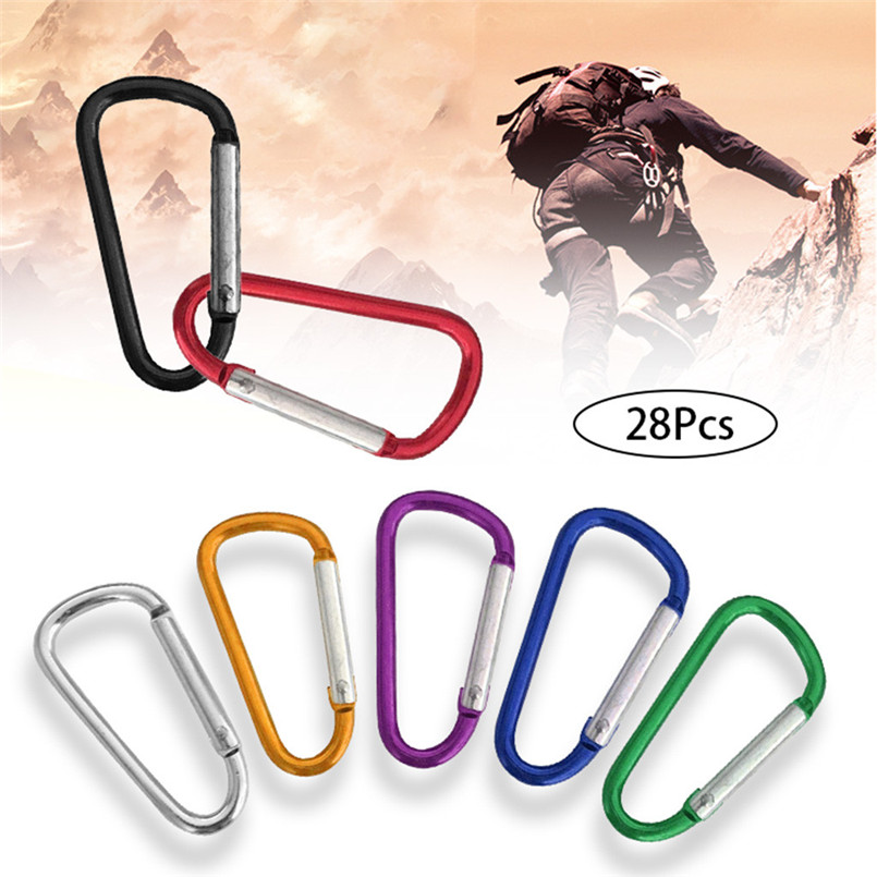 28Pcs Various Colors D-shaped Spring Aluminum Carabiner Outdoor Mountaineering Trip Carabiner Climbing Equipment For Keys 30J16