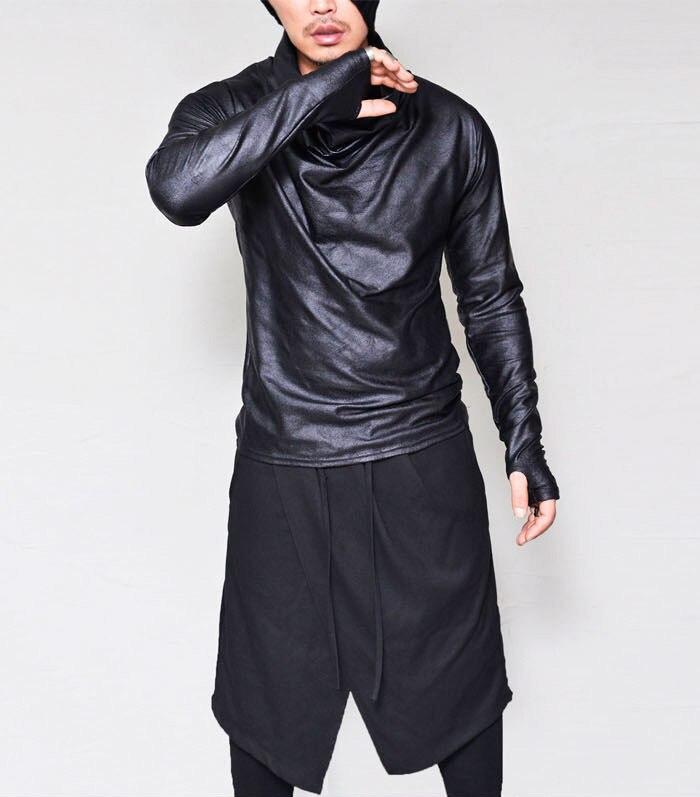 Cowl Neck T Shirt Men 2018 Brand New Thumb Holes Cuffs