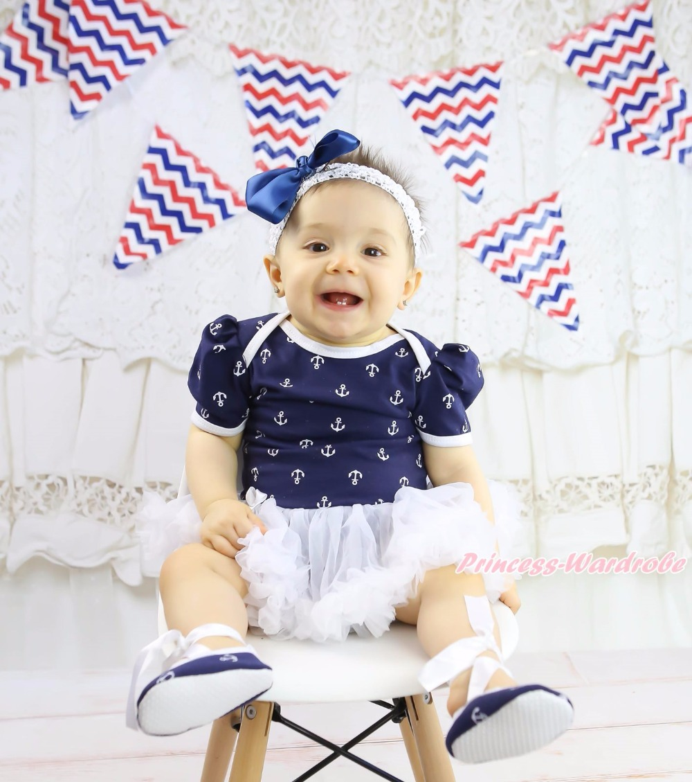 4th July USA Heart Love Birthday 1ST Apple Anchor Sailor Ship Wheel Navy Blue Bodysuit Girls White Baby Dress Outfit Set NB-18M