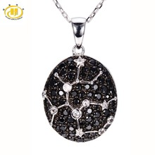 Sagittarius Sign Black Spinel & White Topaz Pendant Solid 925 Sterling Silver Necklace Constellation Fine Jewelry Birthday Gift