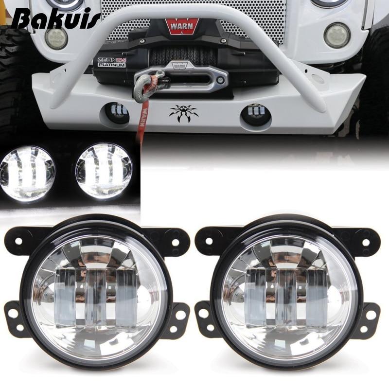 Auto LED Driving Lamp Fog Light Round 4 Inch Passing Lamp for Jeep Wrangler JK Chrome