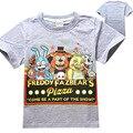 Meninos Roupas Crianças Dos Desenhos Animados Camisetas Cinco Noites No Freddy's Roupas Meninas Camiseta Roupa Dos Miúdos Dos Meninos T-Shirt 5 Freddys topos