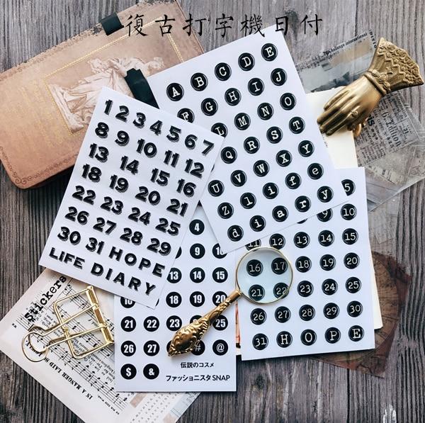 4pcs/lot Retro Black Typewriter English Alphabet/date/number Tags /daily/week Plan Decorative Sticker DIY Scrapbooking Planner
