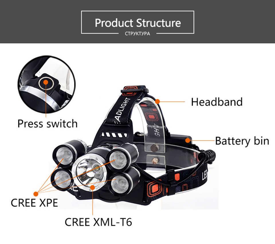 40000 لومينز كشافات 5 * LED XML T6 العلوي 4-طرق كشافات قابلة للشحن رئيس مصباح المصباح + 2*18650 بطارية + AC/DC شاحن