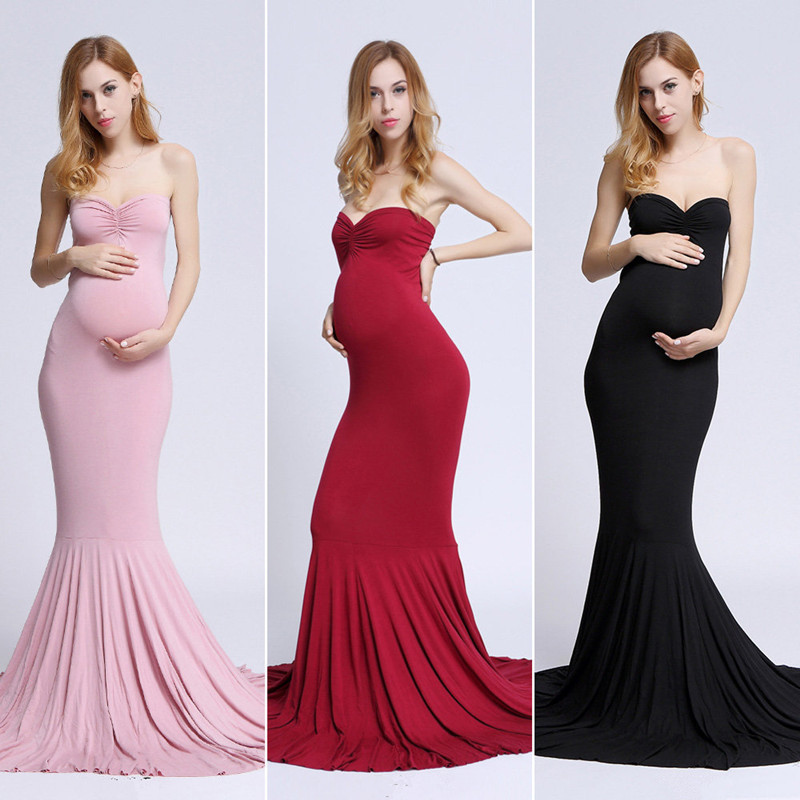 New Clothes For Photography Props Shoulderless Sleeveless Maxi Long Elegant Maternity Dress