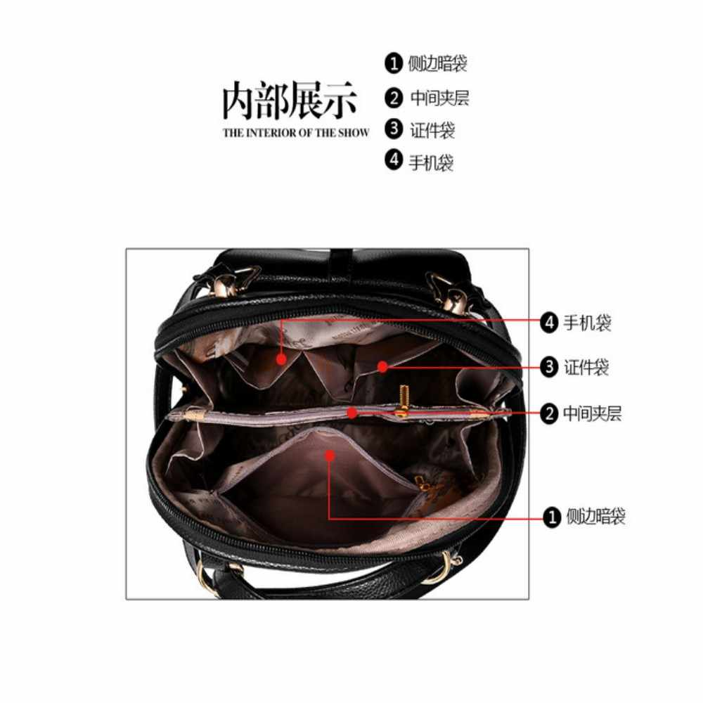 100% женский рюкзак из натуральной кожи 2019 Новый женский двойной рюкзак на плечо новый модный милый студенческий рюкзак с рисунком
