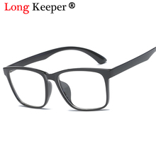 LongKeeper 2018 Fashion Womens Clear Lens Eye Glasses Eyeglasses Frame For Men Masculino Black Pink Blue Glass Frame AMP5016