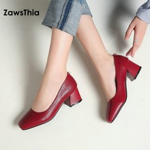 ZawsThia 2019 spring new PU hoof high heels shallow office pumps women shoes with pearl decoration at the back big size 42 43 44