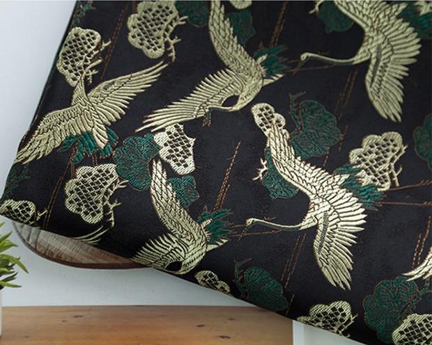 Metallic Jacquard Brocade Fabric Faux Silk Floral Bird Qipao Materials By Metre