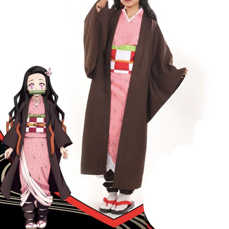 Anime Blade Of Demon Cosplay Costumes Nezuko Kamado Cosplay Costume Halloween Carnival Party Kimetsu No Yaiba Cosplay Costume