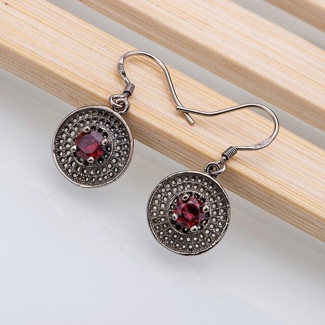 925 чистое серебро серьги, 925 серебро ювелирные изделия, Красный округлые / ijharaoa hwuaqoba LQ-E094