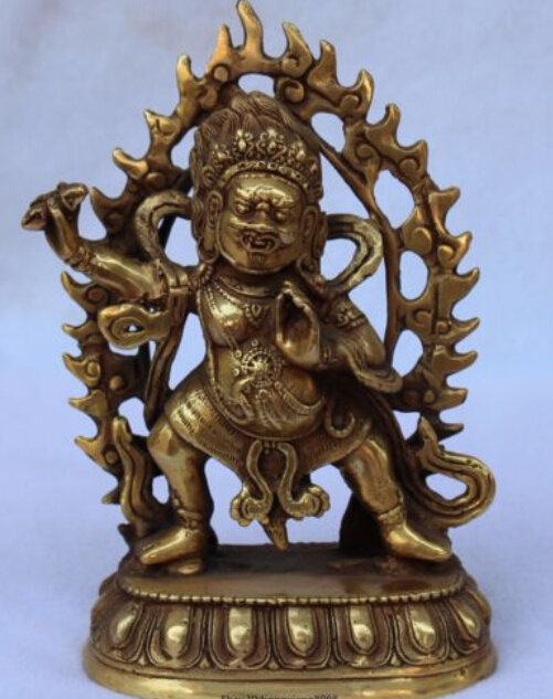 WBY---608+++Tibet Buddhism Pure Bronze Vajrapani Chana Dorje wrathful Tutelary Buddha Statue