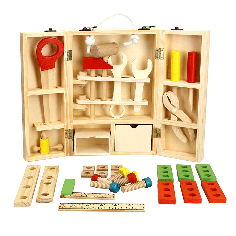 Candywood En Bois Boîte À Outils En Bois 3D Puzzle Boîte À Outils Service Simulation jouets pour Bébé enfants jouets Éducatifs garçon cadeau boîte à Outils jouet - 2