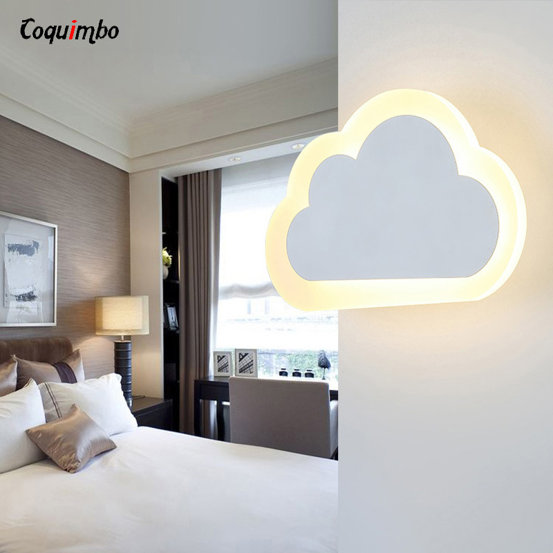 Modern Children Cloud Led Wall Lamp Bedroom Bedside Sconce Acrylic Lampshade White Painting Iron Home Indoor Lighting 110-220V contemporary led wall lamp with butterfly lampshade for bedroom foyer 15w wall sconce white warm white indoor lighting lamp