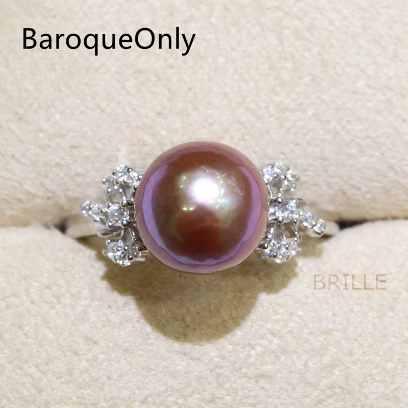 BaroqueOnly Fashion Jewelry Natural Color Freshwater Pearl 9-10mm Edison Pearl Ring Zircon Inlaid 925 Rings Half-baroque RM