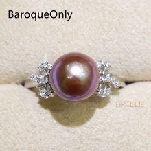Модные ювелирные изделия BaroqueOnly, натуральный цвет, Пресноводный Жемчуг 9-10 мм, кольцо Эдисона с жемчугом, циркон, инкрустированные 925 кольца, половина барокко RM