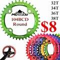 Manivela de la bicicleta 104BCD Forma Redonda Estrecho Ancho 32 T/34 T/36 T/38 T MTB Cadena anillo de La Bicicleta Bielas Chainwheel Bike Círculo Placa Única