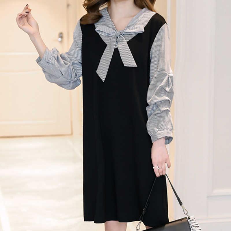 ed175c3ab Falsa de dos piezas a rayas Vestido maternidad las mujeres embarazadas  coreano Plus tamaño Vestido de