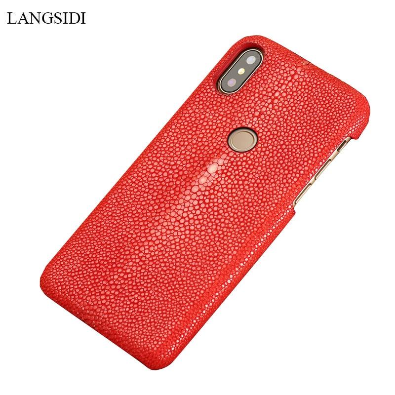 Genuine Stingray Leather Phone Case For Xiaomi Pocophone F1 Mi 9 Mi 8 Pro Explore protective Luxury Cases For Redmi Note 7 Pro