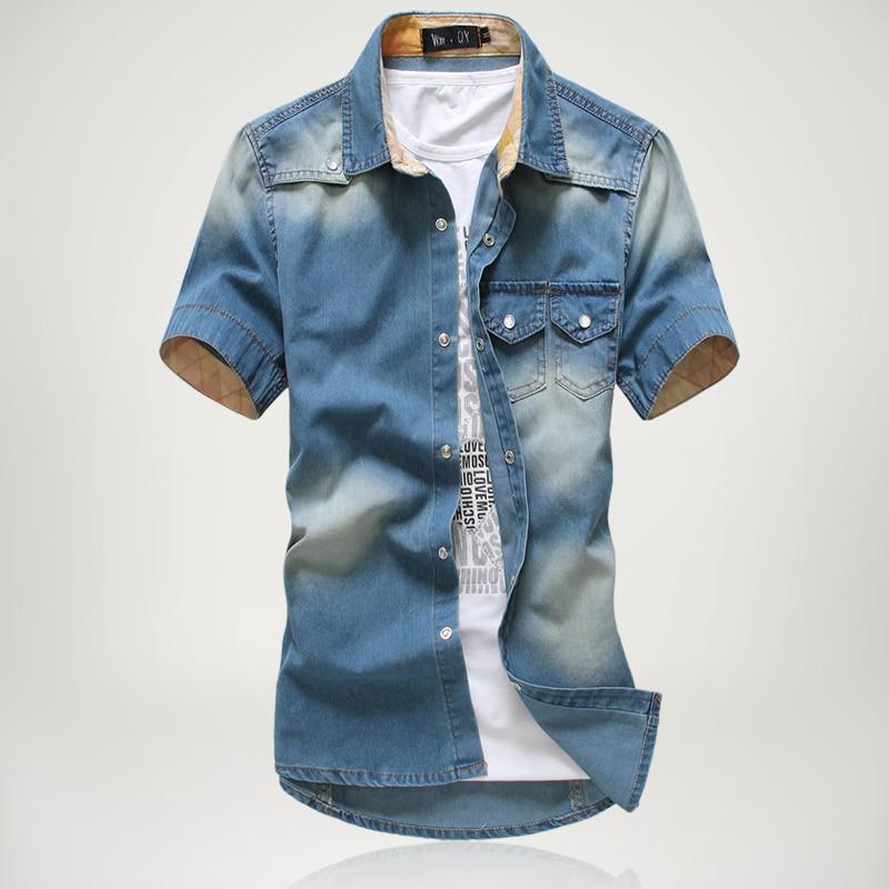 4008fcb6c 2019 Summer New Men s Fashion Retro Denim Shirt Multi-pocket Design Blue  Short Sleeves Social Casual Slim Fit Shirt CowboyStyle
