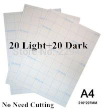 40 Pcs=20 Light+20 Dark Laser Heat Transfer A4 Size Paper Thermal Fabrics Transfer Paper Printing With Heat Press For Tshirt