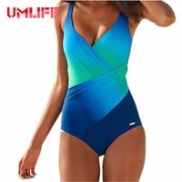 UMLIFE One Piece Swimsuit 2019 New Swimwear Women Plus Size Bathing Suit Sexy Bodysuit Vintage Summer Beachwear Swimwear Female