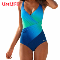 UMLIFE One Piece Swimsuit 2017 New Swimwear Women Rainbow Color Bathing Suit Swim Vintage Summer Beach