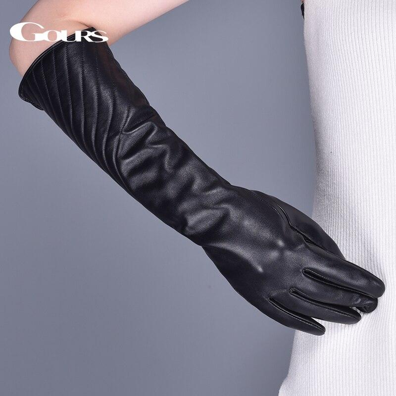 Гоурс женска природна кожа рукавице зимска топла пругаста црна овчја кожа дуги заслон осјетљив на додир рукавице модни рукавице нови ГСЛ081