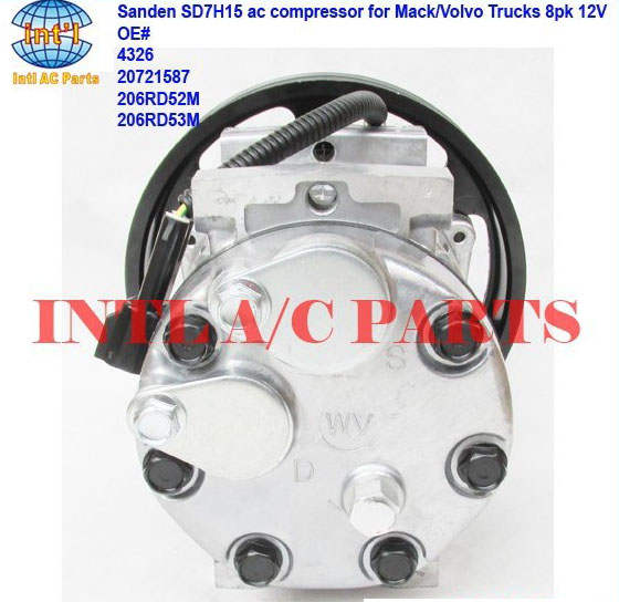 US $98 0 |4326 20721587 206RD52M 206RD53M Sanden 7H15 709 auto ac  compressor for Mack/Volvo/GM Trucks 8pk 12V-in Air-conditioning  Installation from