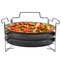 3Pcs 12 Inch Dish Tray Household Carbon Steel With Rack Non Stick Bakeware Punched Holes Round Home Pizza Baking Pan DIY
