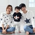 2016 Primavera otoño juego de ropa madre e hija madre ropa estrella impreso hoodies del suéter de la madre padre hija bebé