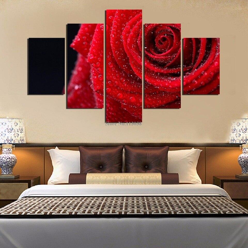 Gardenia Art-Rosa Flores Moderno Canvas Wall Art Pinturas Arte Flores Vermelhas