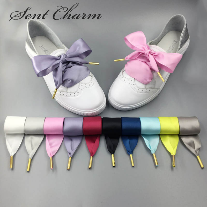 SENTCHARM 3cm Wide New Style Ribbon Bowknot Shoelaces For Girls 10 Colors 3 Lengths Shoestrings With Metal Aglets