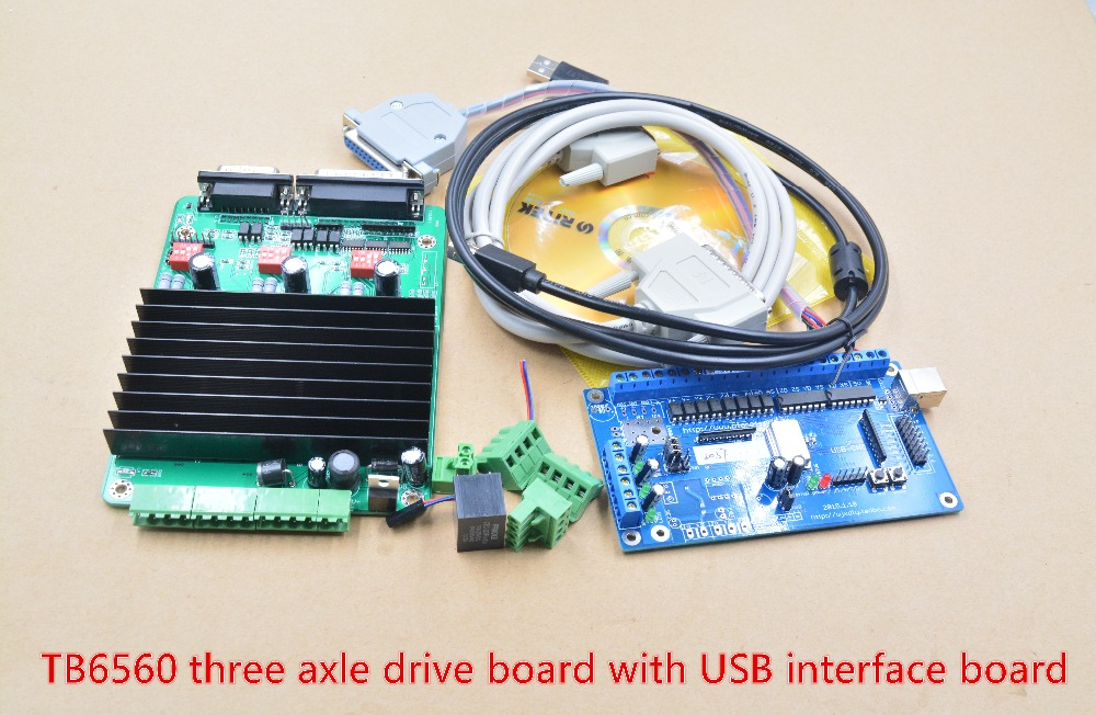 engraving machine USB interface card withTB6560 three axis driver board for DIY CNC USB controller 1set new diy mini engraving machine full set of parts cnc engraving machine engraving stroke 240x180x30mm usb interface