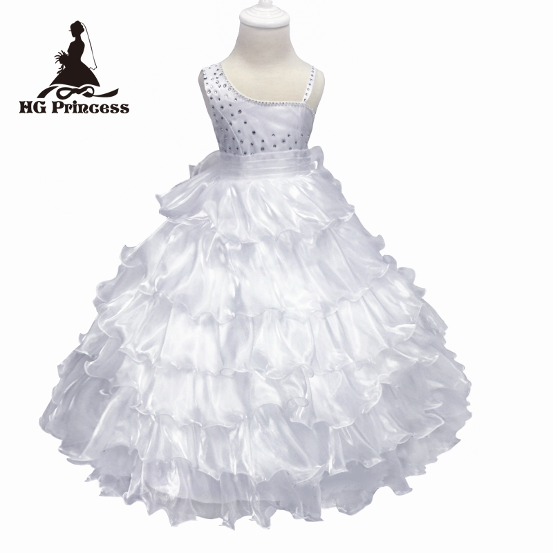 Free Shipping Ankle-Length Girl Dress 2018 New Arrival Pure White Flower Girls Dresses For Weddings One Should Kids Evening Gown