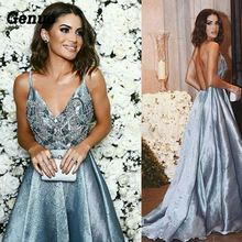 Genuo Party Dress Women Sexy Deep V-neck Off Shoulder Backless Maxi Elegant Sequin Long Vestdios verano 2018