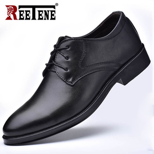 Image 2 - REETENE New Men Leather Shoes Business MenS Dress Shoes Fashion Casual Wedding Shoes Comfortable Pointed Solid Color Men Shoes