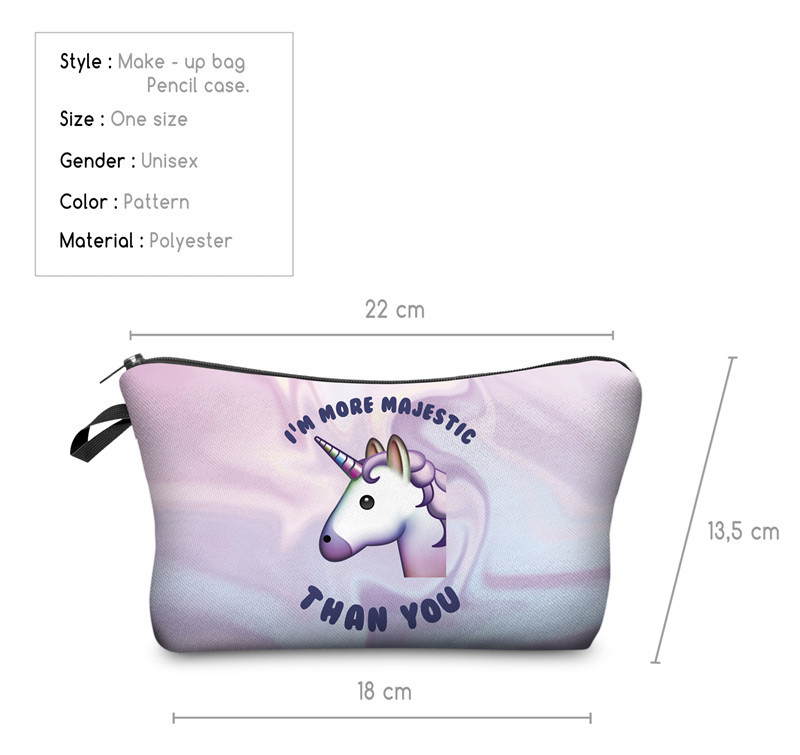 Cute Unicorn Pencil Case Cosmetic Make Up Bag For School Supplies Girls Makeup Pen Pencil Case Bag Pouch Stationery Organizers