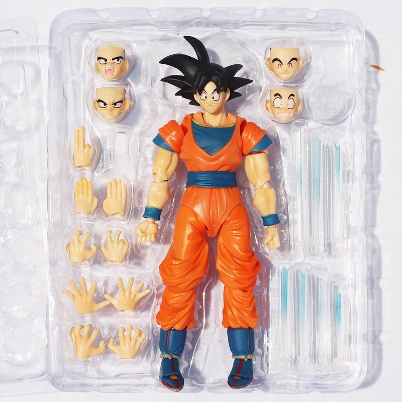 2pcs/set Dragon Ball Z Son Goku Action Figures PVC Action Figure Face Changeable Chidren Gifts Dragonball Z Figures