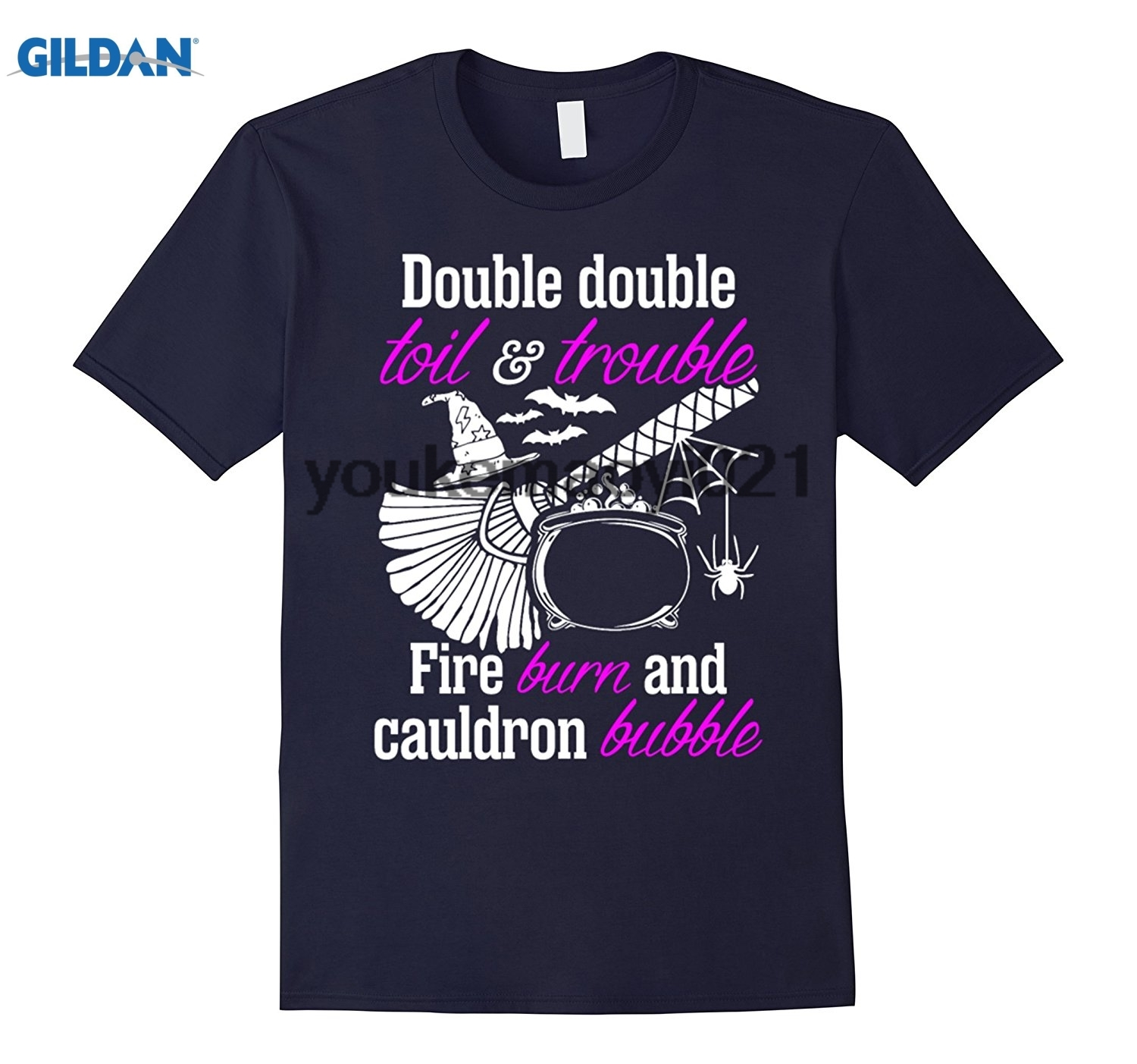 GILDAN Double Double Toil Trouble Fire Burn Cauldron T-Shirt