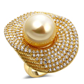 high quality shell synthetic pearl18k gold plated ring women fashion wedding party finger rings big size cubic zircon (hyb0)