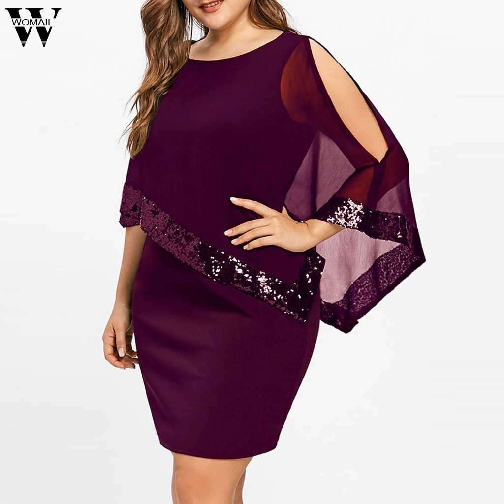 Womail dress Summer Women Plus Size Cold Shoulder Overlay Asymmetric Chiffon Strapless Sequins Dress S-5XL 2019 dropship M14