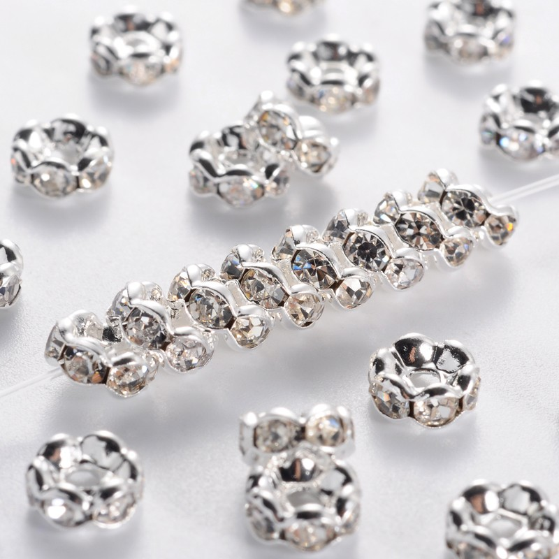 200 Pcs 8mm For Rhinestones Rondelle Spacer Beads Crystal Grade AAA