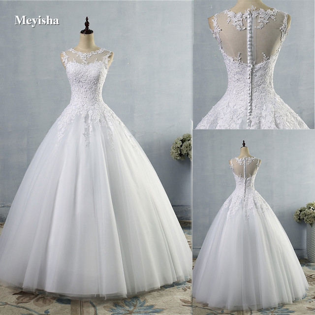 ZJ9036 2019 2020 lace White Ivory A-Line Wedding Dresses for bride Dress gown Vintage plus size Customer made size 2-28W 1