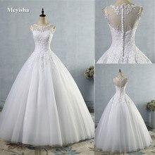 ZJ9036 2019 2020 kant Wit Ivoor A lijn Trouwjurken voor bruid jurk Vintage plus size Klant gemaakt maat 2  28 W