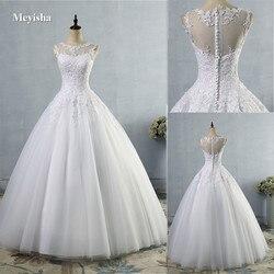 ZJ9036 2019 2020 lace Branco Marfim A Linha de Vestidos de Casamento para noiva Vestido vestido Do Vintage plus size Cliente fez tamanho 2 -28 W