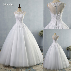 Image 1 - ZJ9036 2019 2020 lace White Ivory A Line Wedding Dresses for bride Dress gown Vintage plus size Customer made size 2 28W